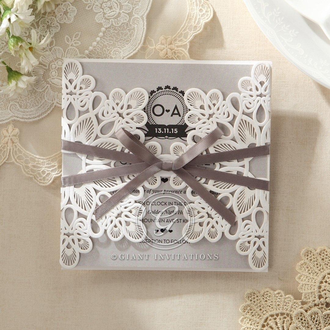 Silver/Gray Elagant Laser Cut Wrap - Wedding invitation - 31