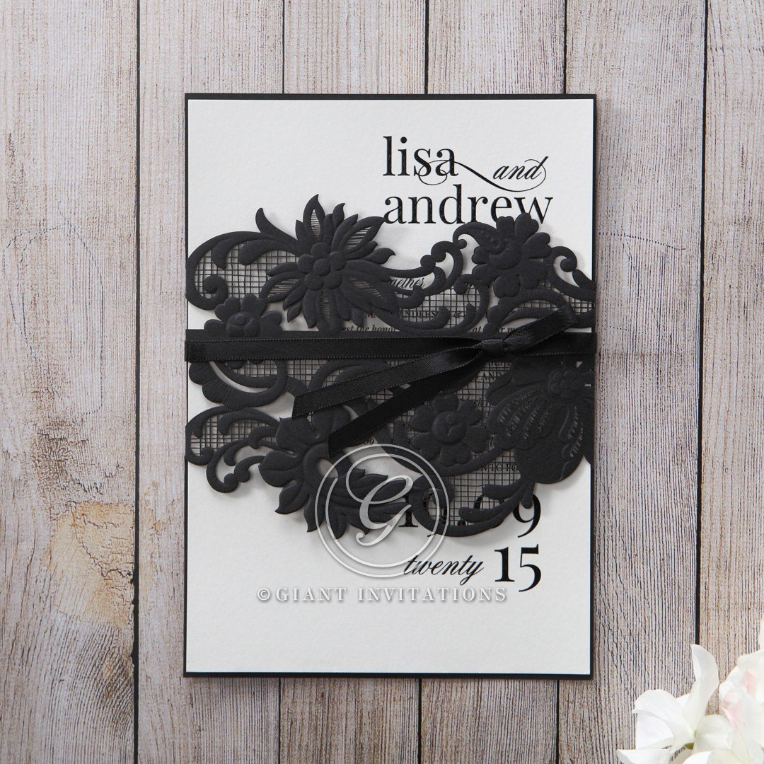 White Black Laser Cut Wrap with Ribbon - Engagement Invitations - 33