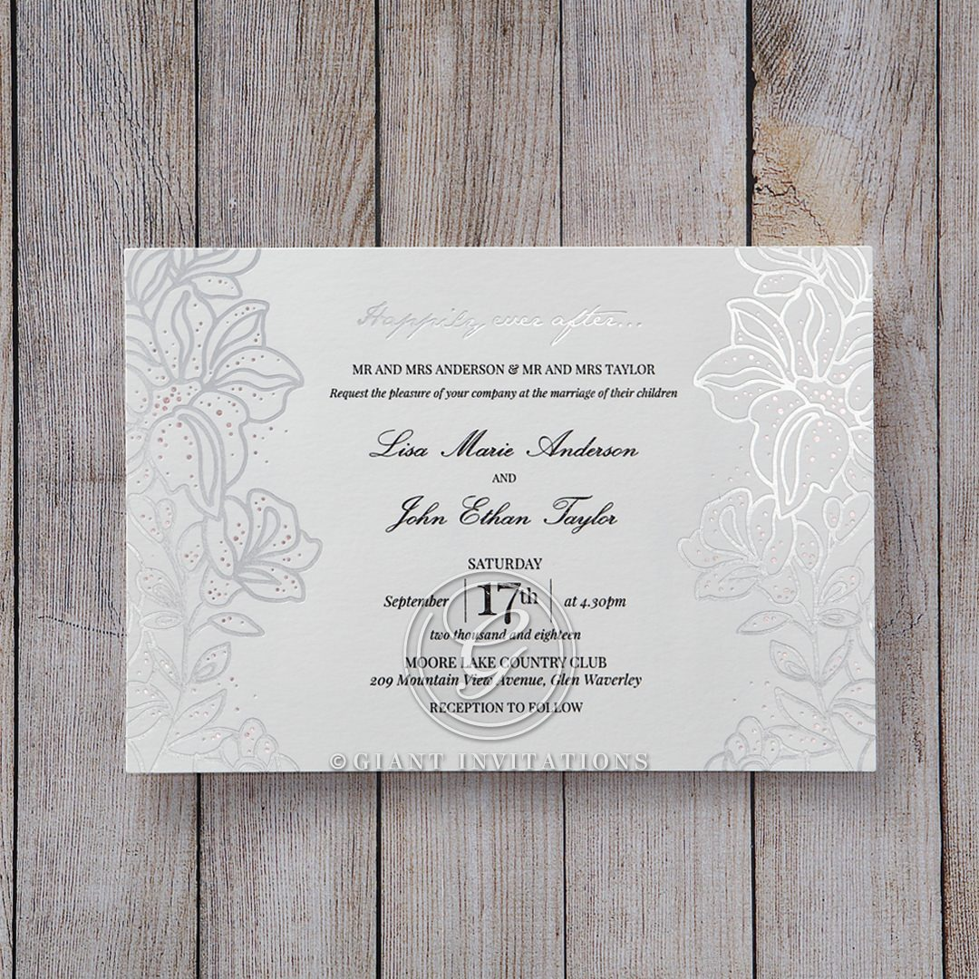 Silver Foil Wedding Invitations: Silver Foil Stamped Lillies Wedding Invitations