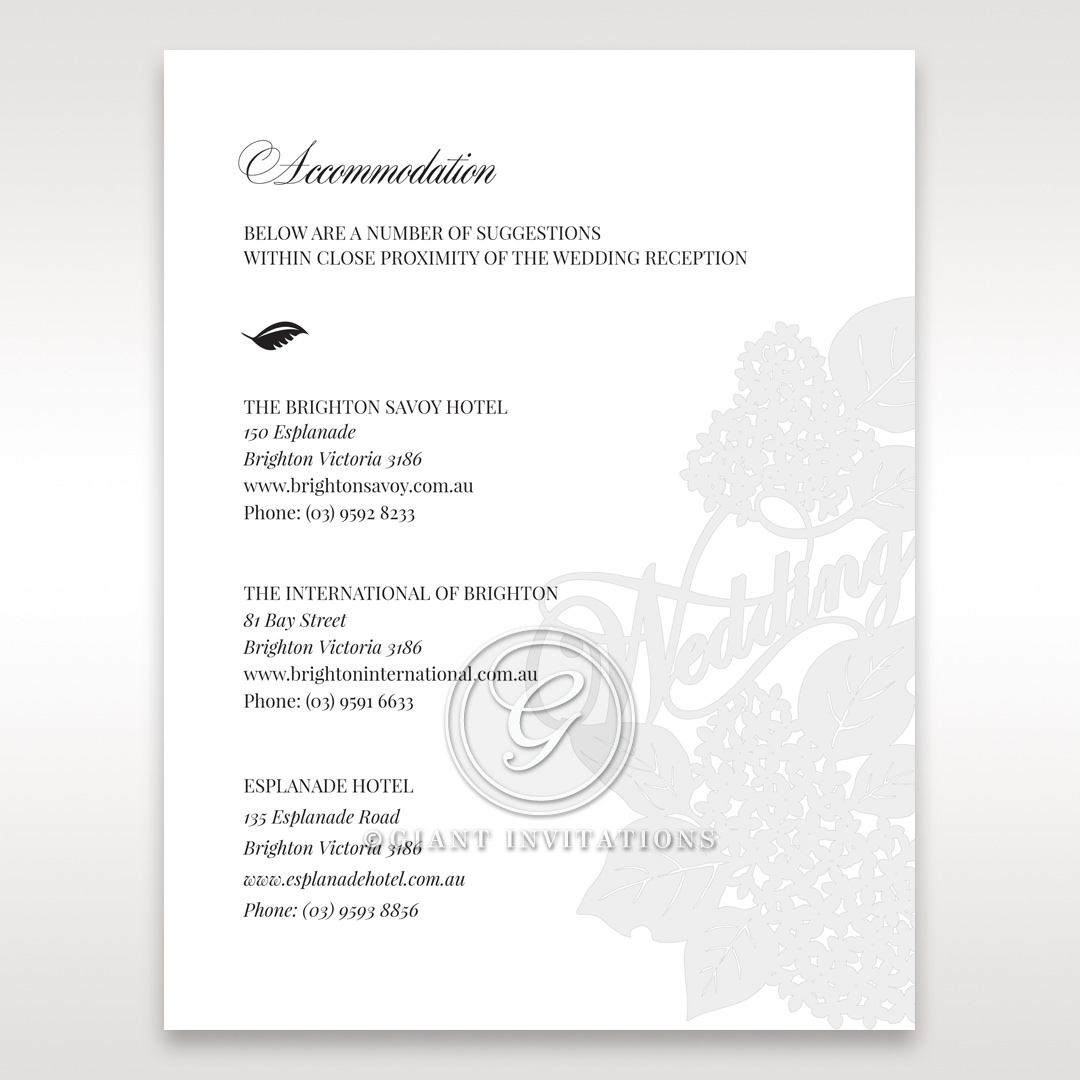 Laser Cut Floral Wedding accommodation card DA15086