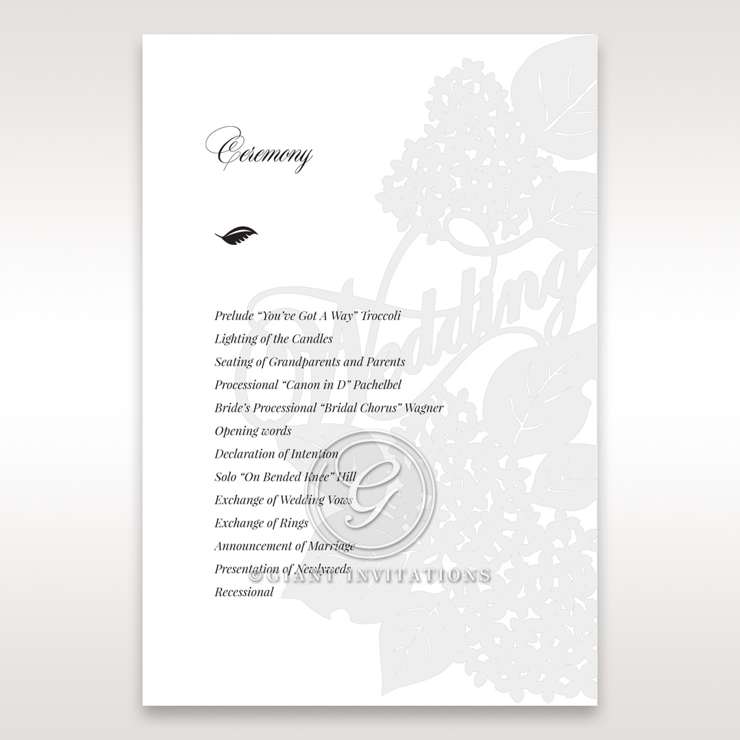 Laser Cut Floral Wedding order of service DG15086