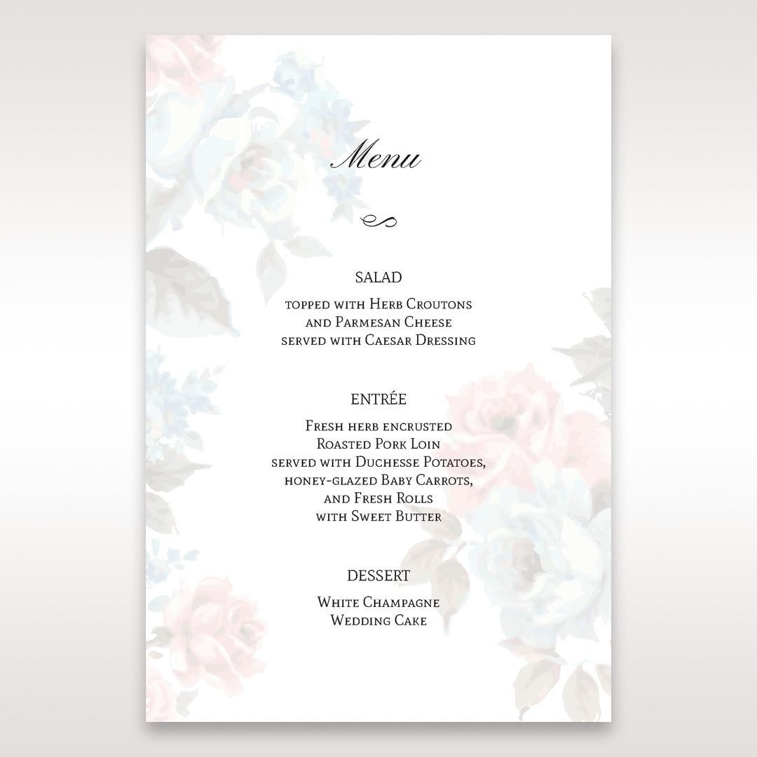 Blue Magical Flower Garden - Menu Cards - Wedding Stationery - 1