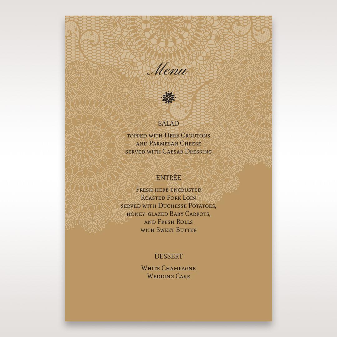 Yellow/Gold Tri-Fold Laser Cut Gold - Menu Cards - Wedding Stationery - 2
