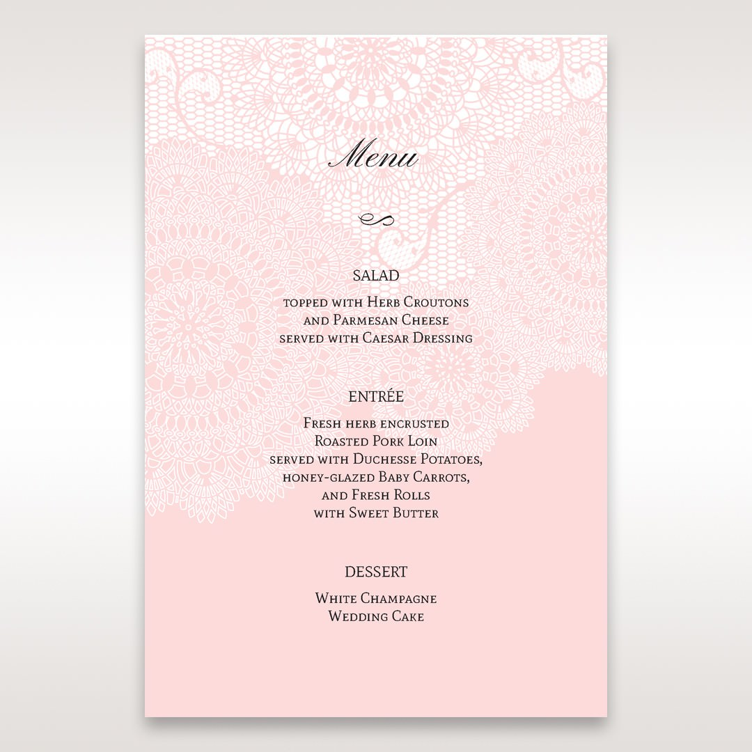 Pink Tri-Fold Laser Cut - Menu Cards - Wedding Stationery - 58