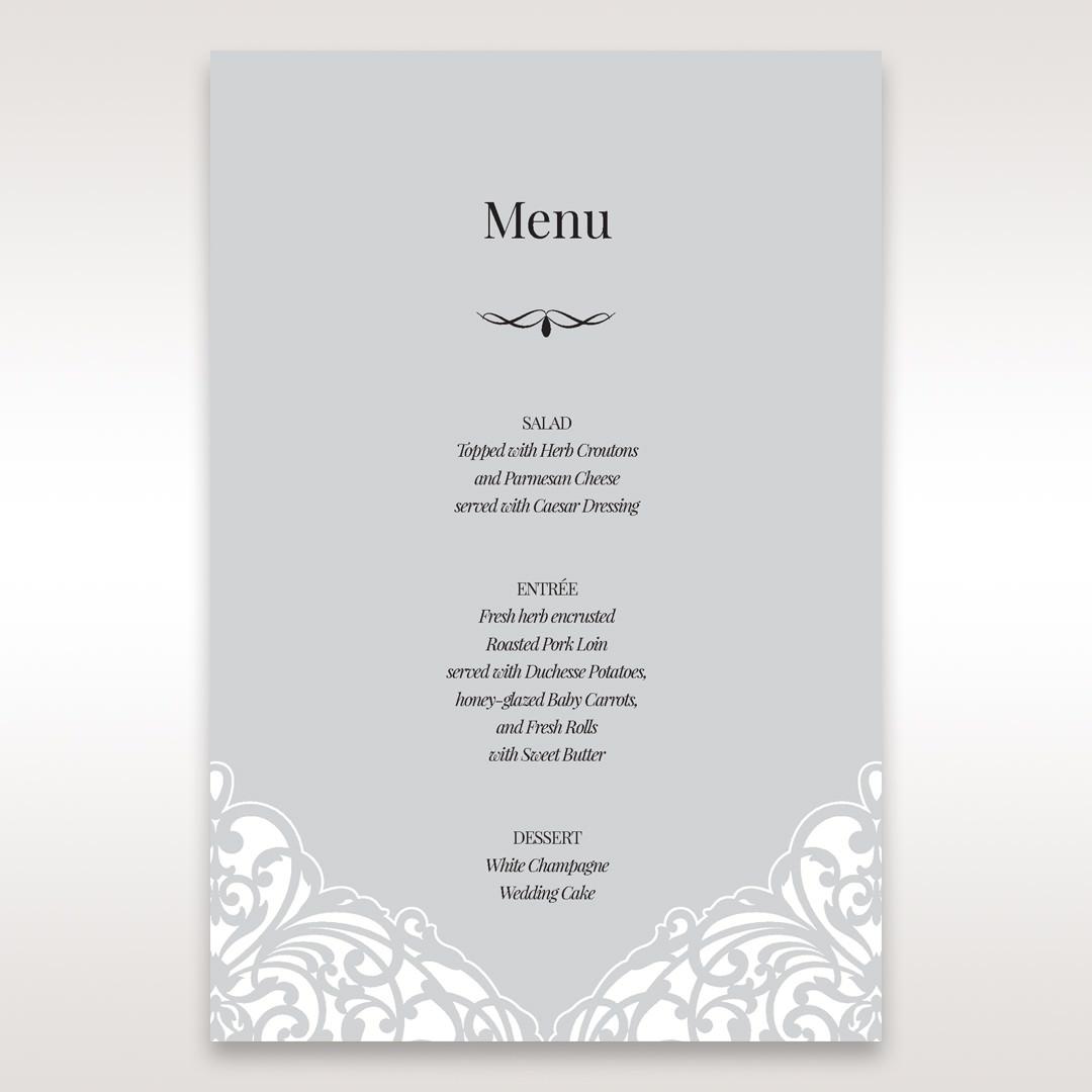 Silver/Gray Jeweled White Lasercut Pocket - Menu Cards - Wedding Stationery - 74
