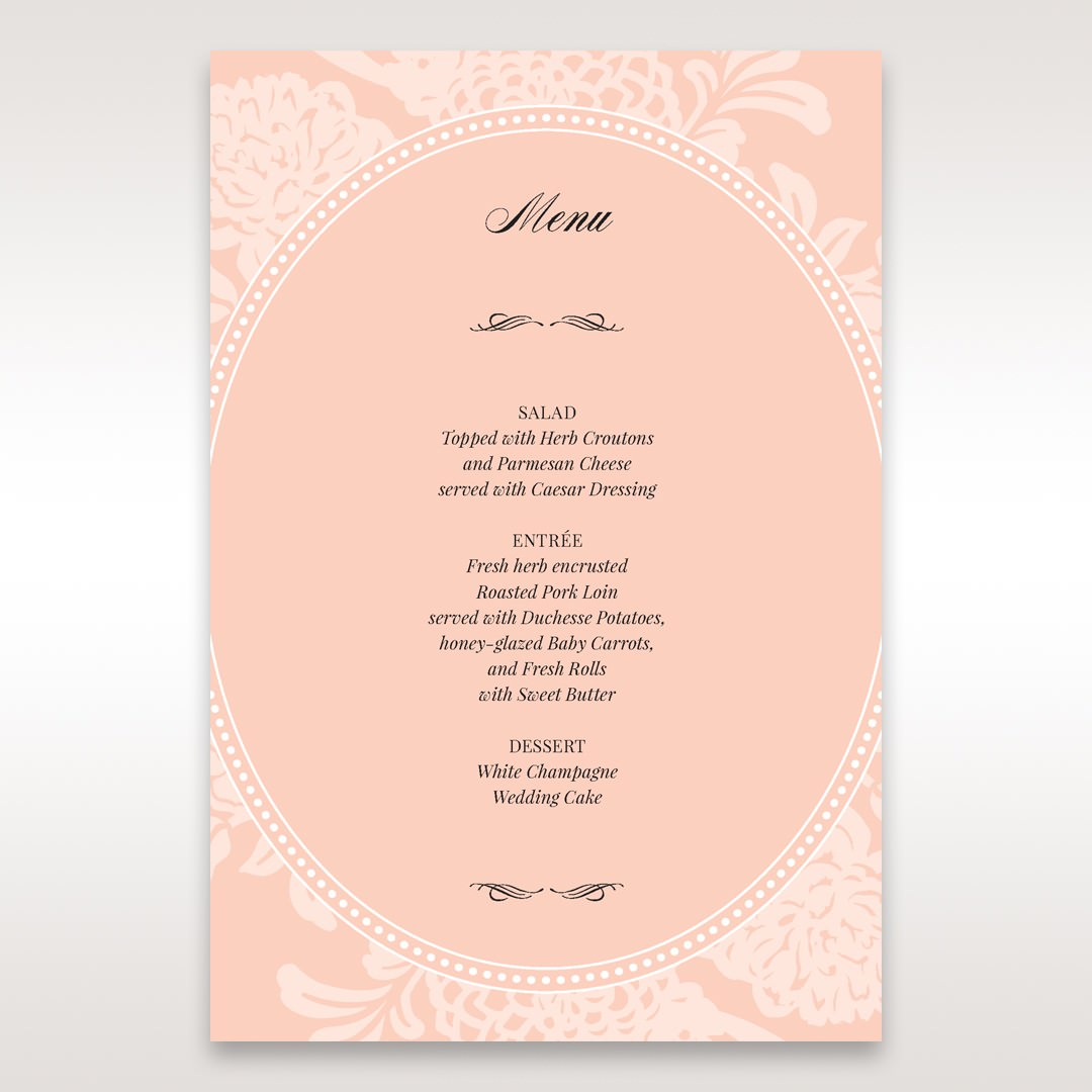 Pink Rustic Garden Laser Cut Pocket - Menu Cards - Wedding Stationery - 87