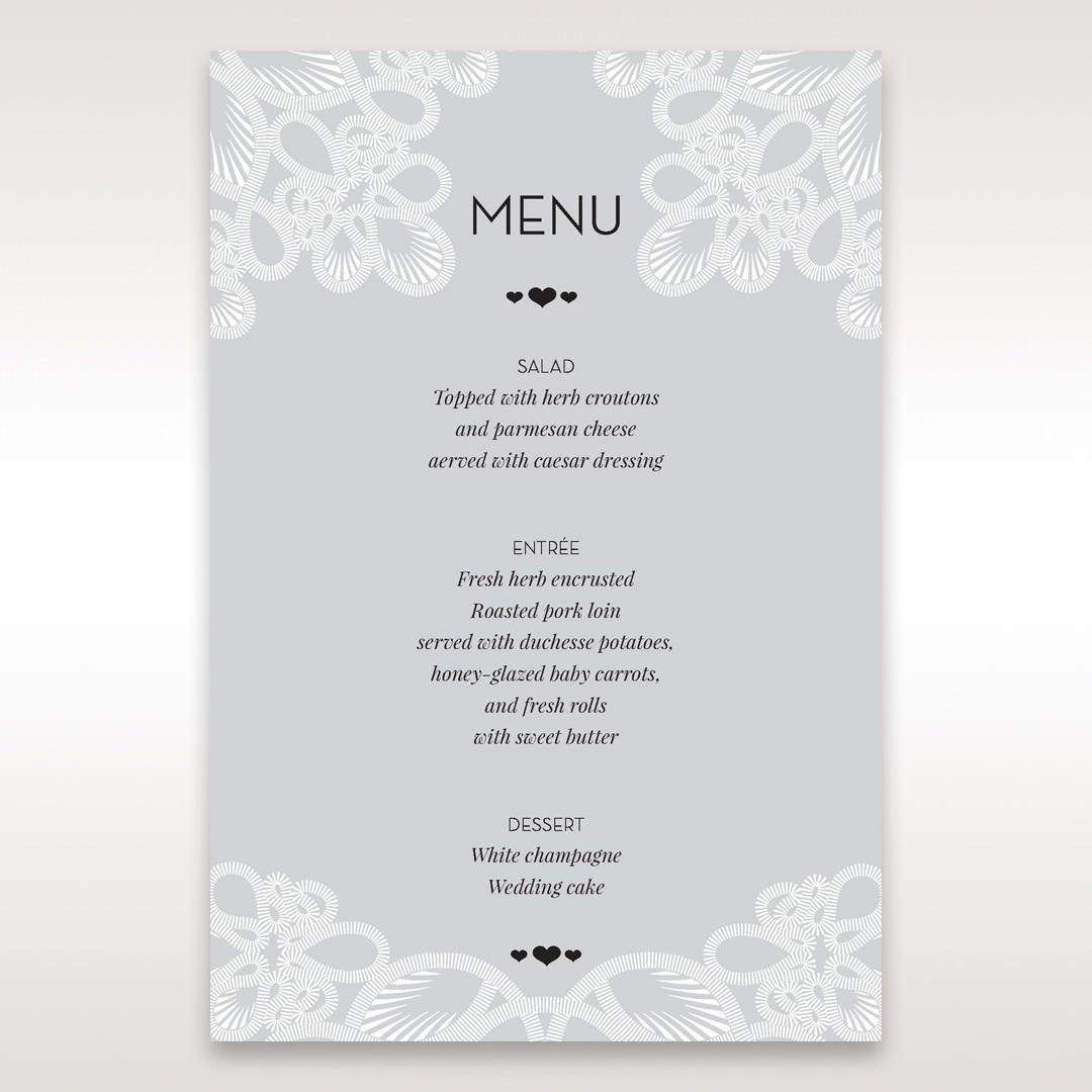 Silver/Gray Elagant Laser Cut Wrap - Menu Cards - Wedding Stationery - 98