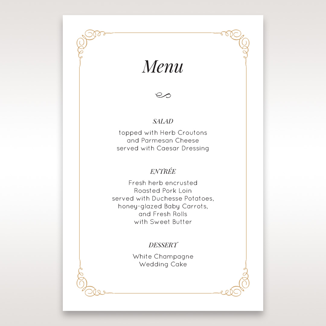 Elegant Wedding Stationery By Giant Simple Chic Menu Card