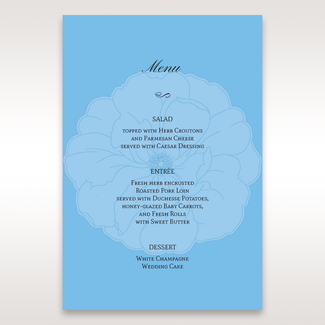 Blue Urban Flower Handcrafted - Menu Cards - Wedding Stationery - 63