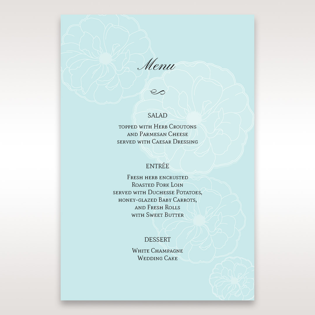 Blue Sculpted White Flower - Menu Cards - Wedding Stationery - 84