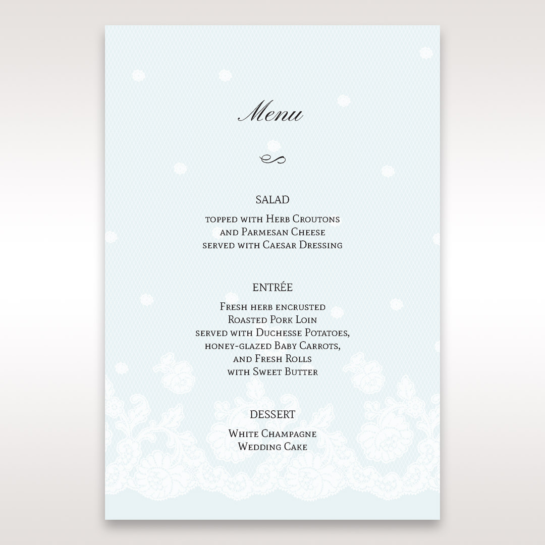 Silver/Gray Floral Couture in Blue & White - Menu Cards - Wedding Stationery - 96