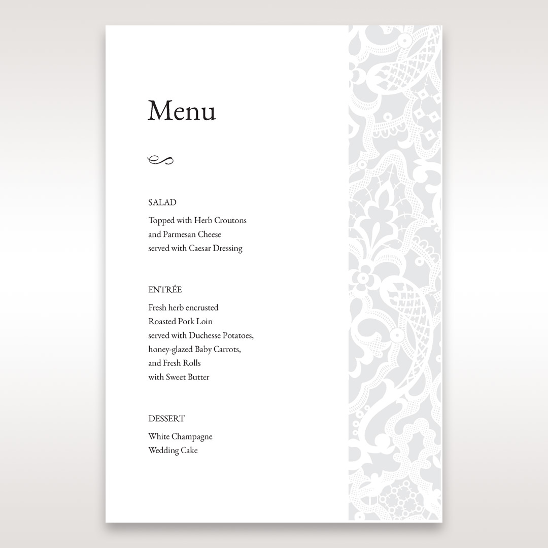 White Elegant Laser Cut - Menu Cards - Wedding Stationery - 32