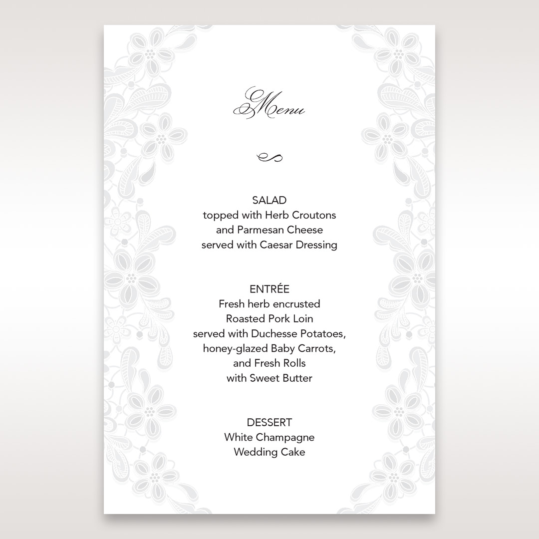 White Laser Cut Floral Wrap - Menu Cards - Wedding Stationery - 57