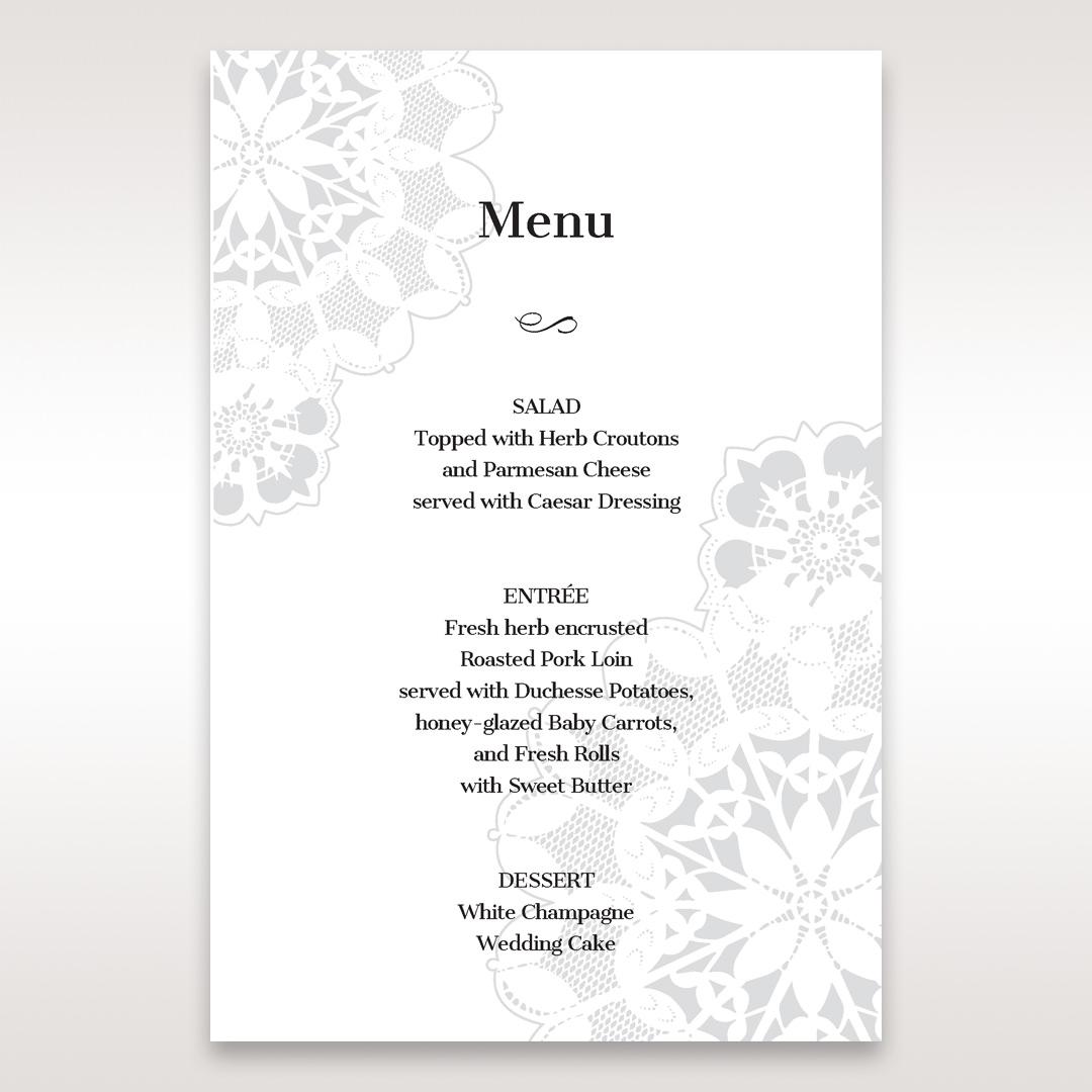 Black Laser Cut Floral Frame - Menu Cards - Wedding Stationery - 64