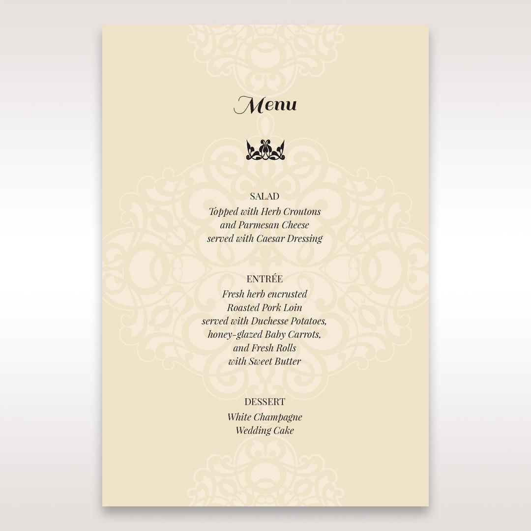 Yellow/Gold Jeweled Laser Cut - Menu Cards - Wedding Stationery - 10