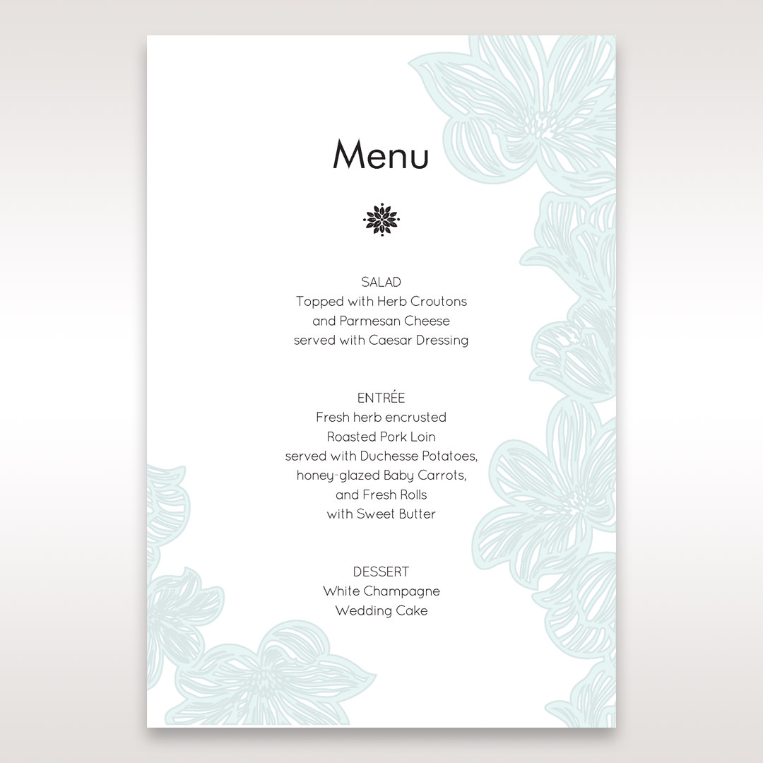 Blue Laser Cut Flower Wrap - Menu Cards - Wedding Stationery - 95