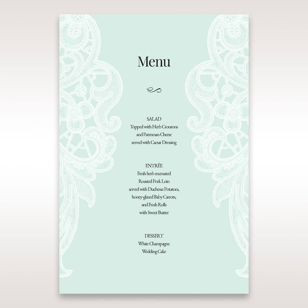Blue Gatefold Floral Laser Cut - Menu Cards - Wedding Stationery - 61