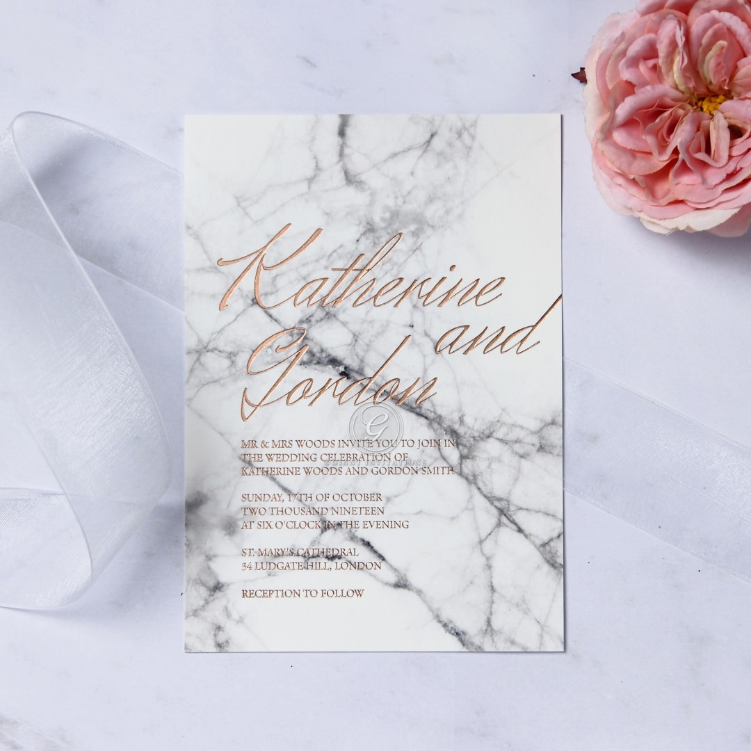 Gallery Minimalist Wedding Invitations: Minimalistic Marble Wedding Invite With Luxe Foiling