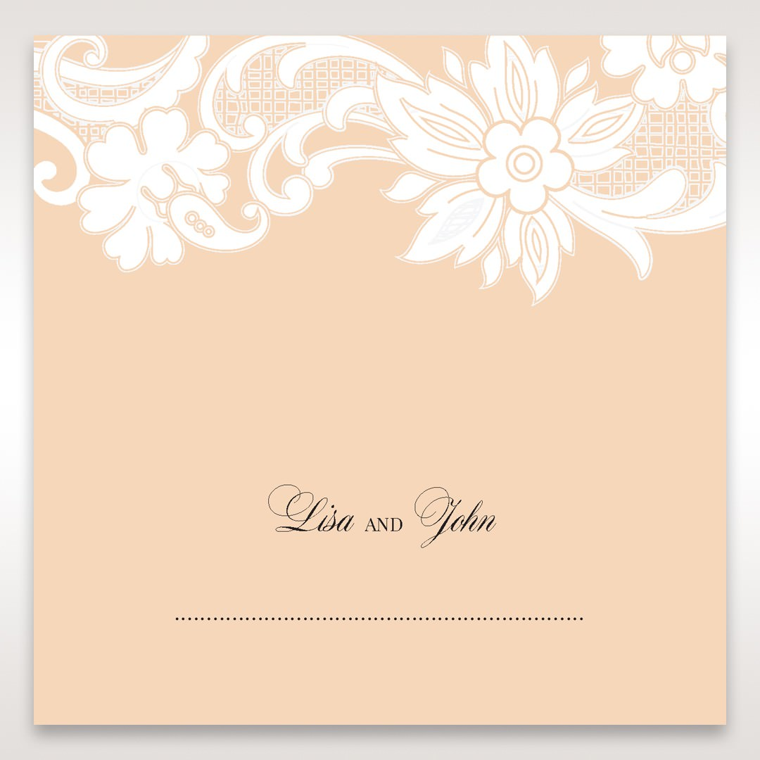 Beige White Laser Cut Wrap with Ribbon - Place Cards - Wedding Stationery - 64