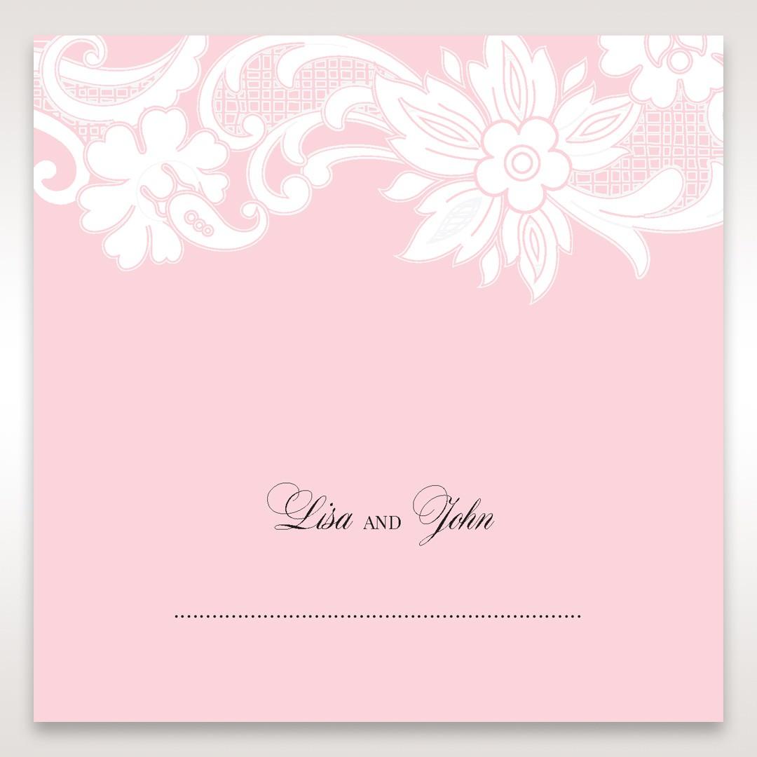 Pink Laser Cut Floral Half Pocket - Place Cards - Wedding Stationery - 72
