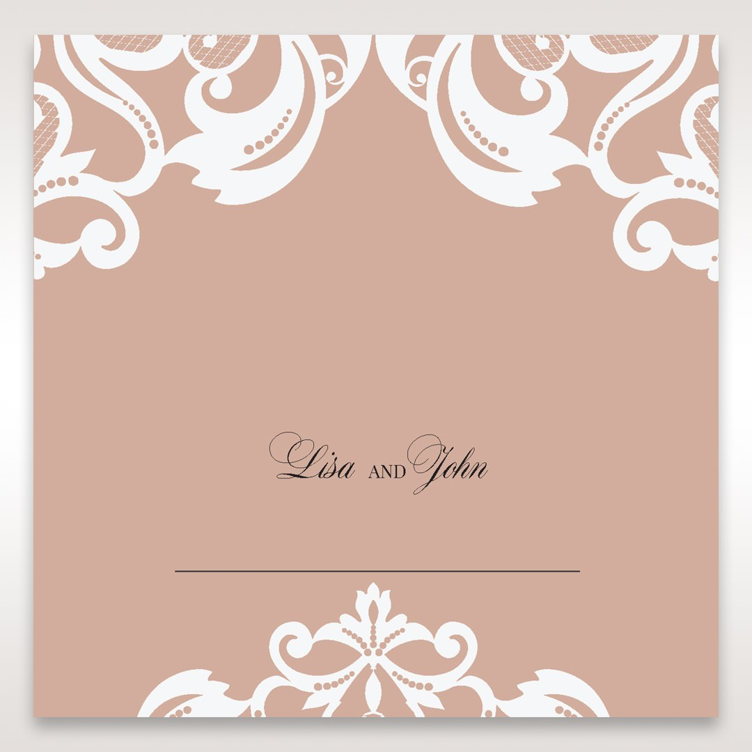 White Elegant Laser Cut Half Pocket with a Bow - Place Cards - Wedding Stationery - 82