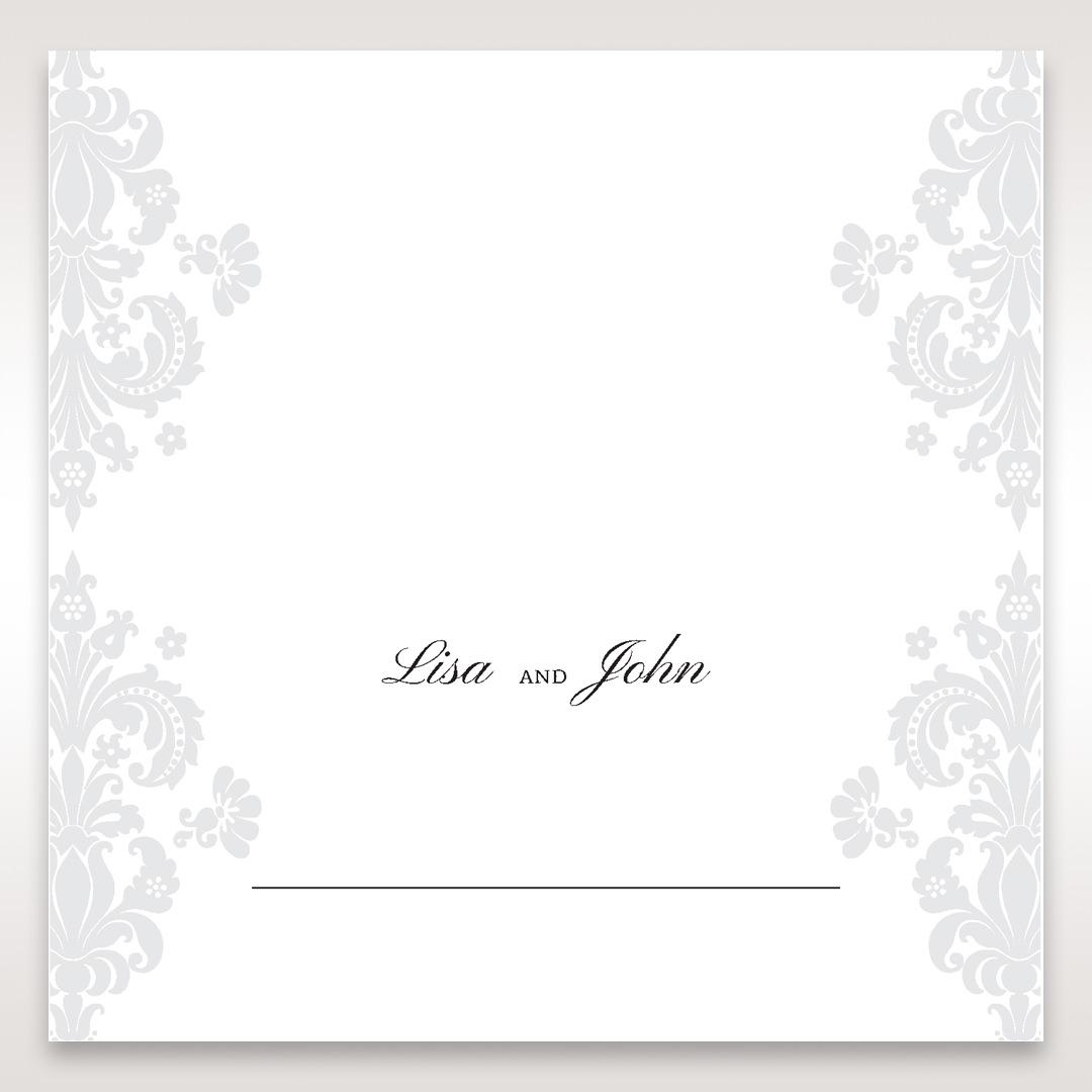 White Letter-fold Damask Pocket - Place Cards - Wedding Stationery - 26
