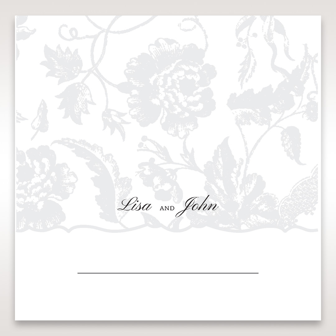 Silver/Gray Enchanted Floral Pocket III - Place Cards - Wedding Stationery - 27