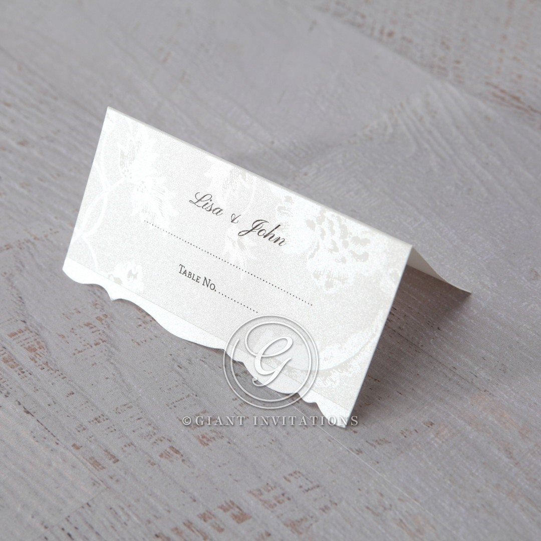 White Enchanted Folral Pocket III - Place Cards - Wedding Stationery - 26
