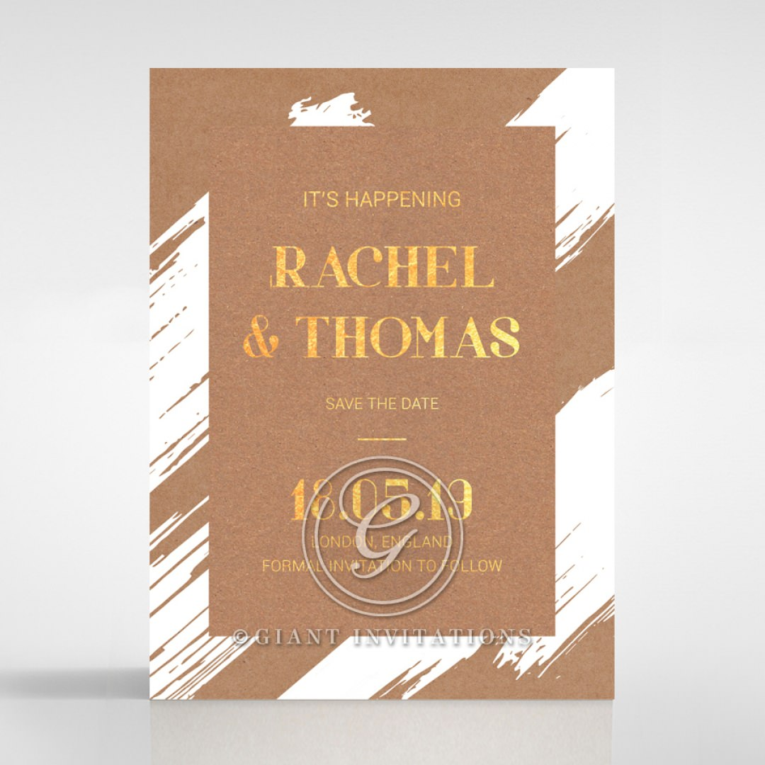 Rustic Brush Stroke with Foil save the date DS116091-TR-GG