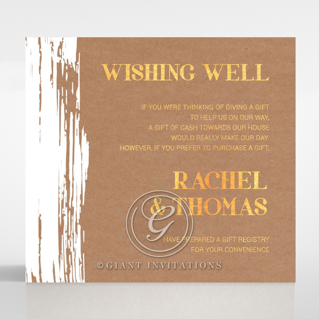 Rustic Brush Stroke with Foil wishing well card DW116091-TR-GG
