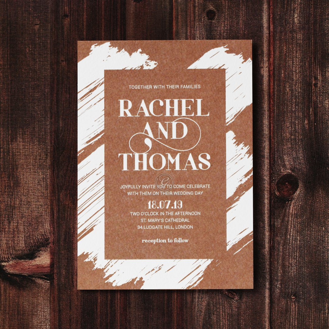 Rustic Brush Stroke wedding invitations FWI116129-TR