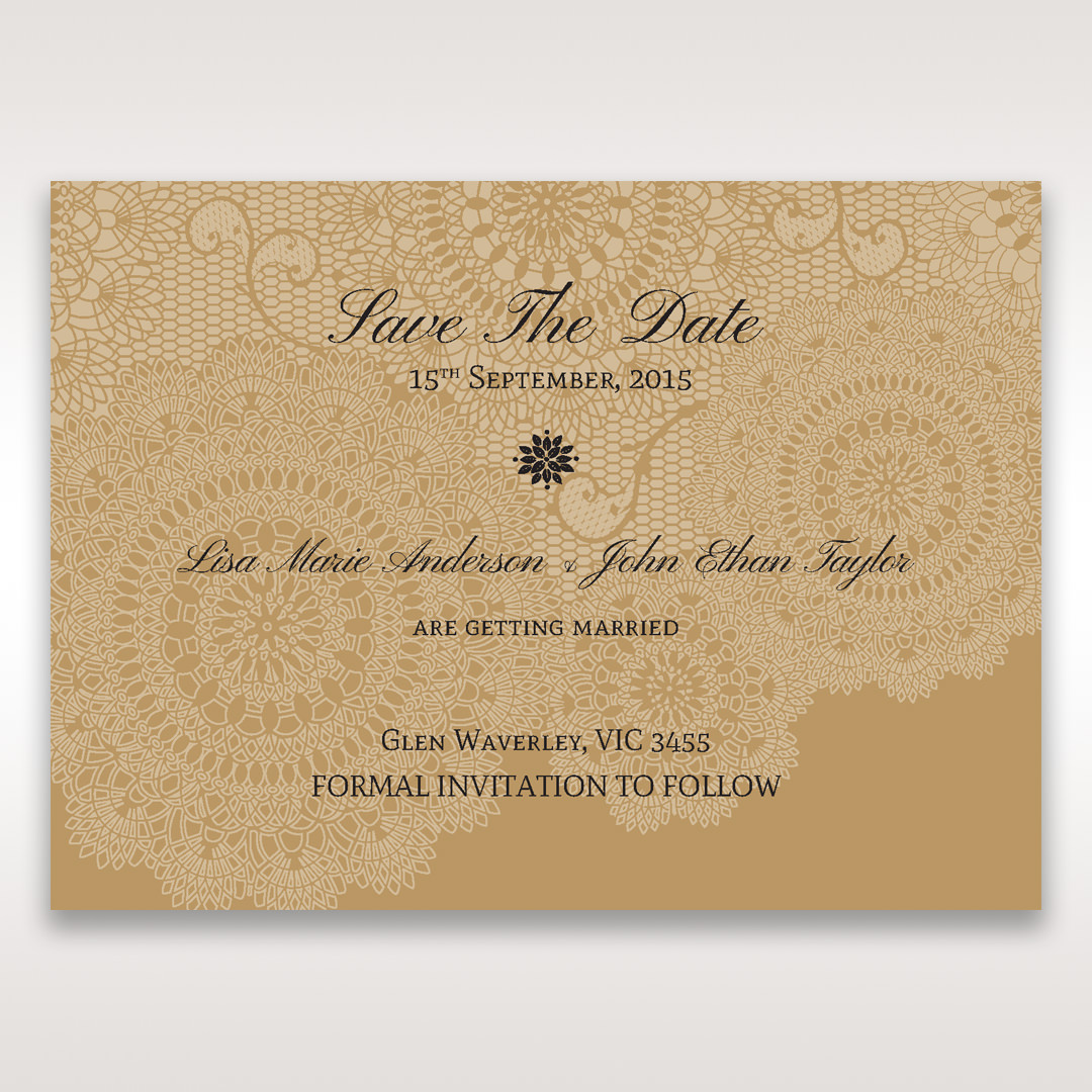 Yellow/Gold Tri-Fold Laser Cut Gold - Save the Date - Wedding Stationery - 30
