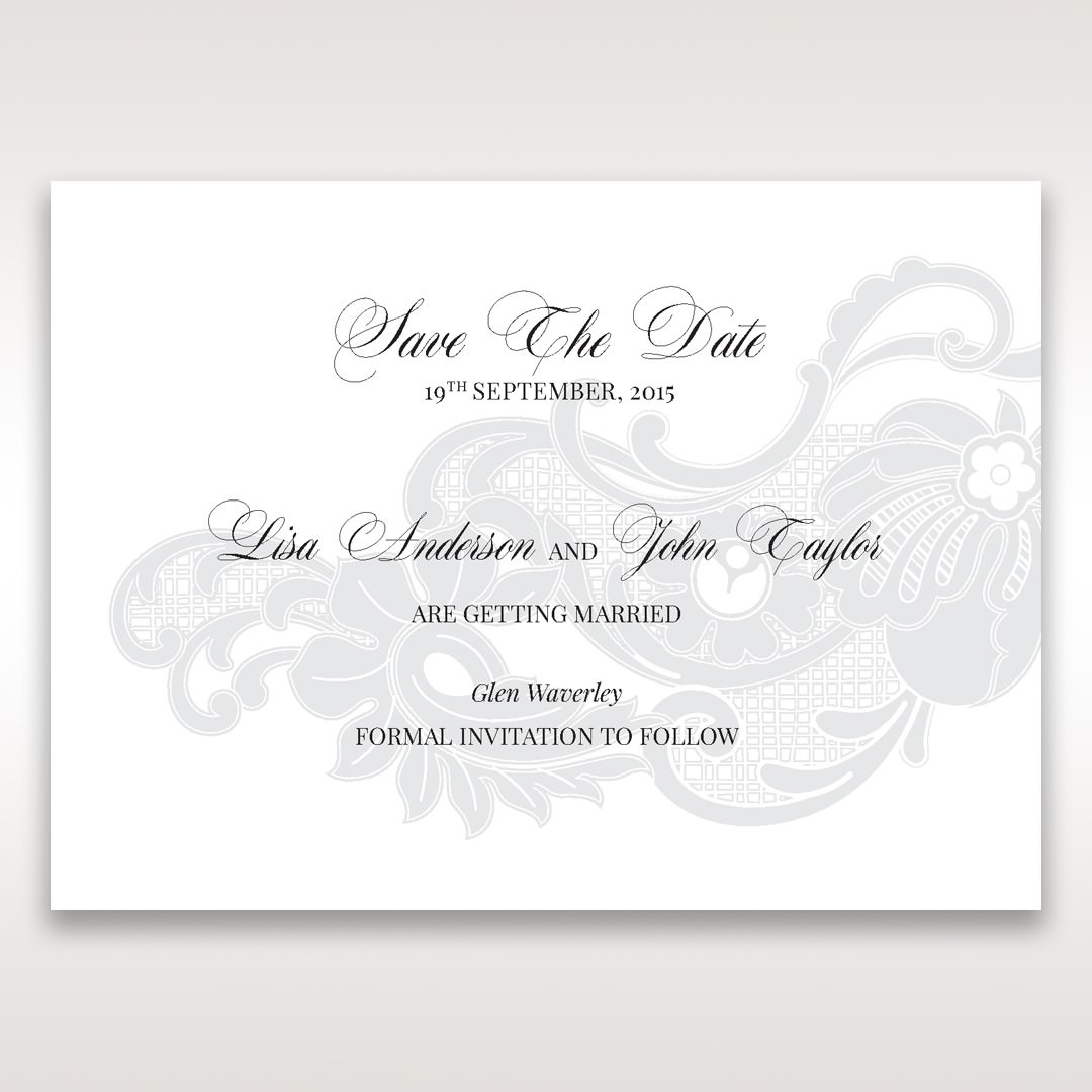 White Black Laser Cut Wrap with Ribbon - Save the Date - Wedding Stationery - 57