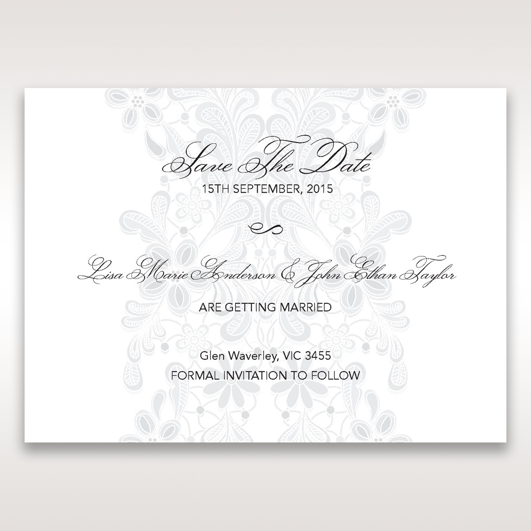 White Laser Cut Floral Wrap - Save the Date - Wedding Stationery - 58