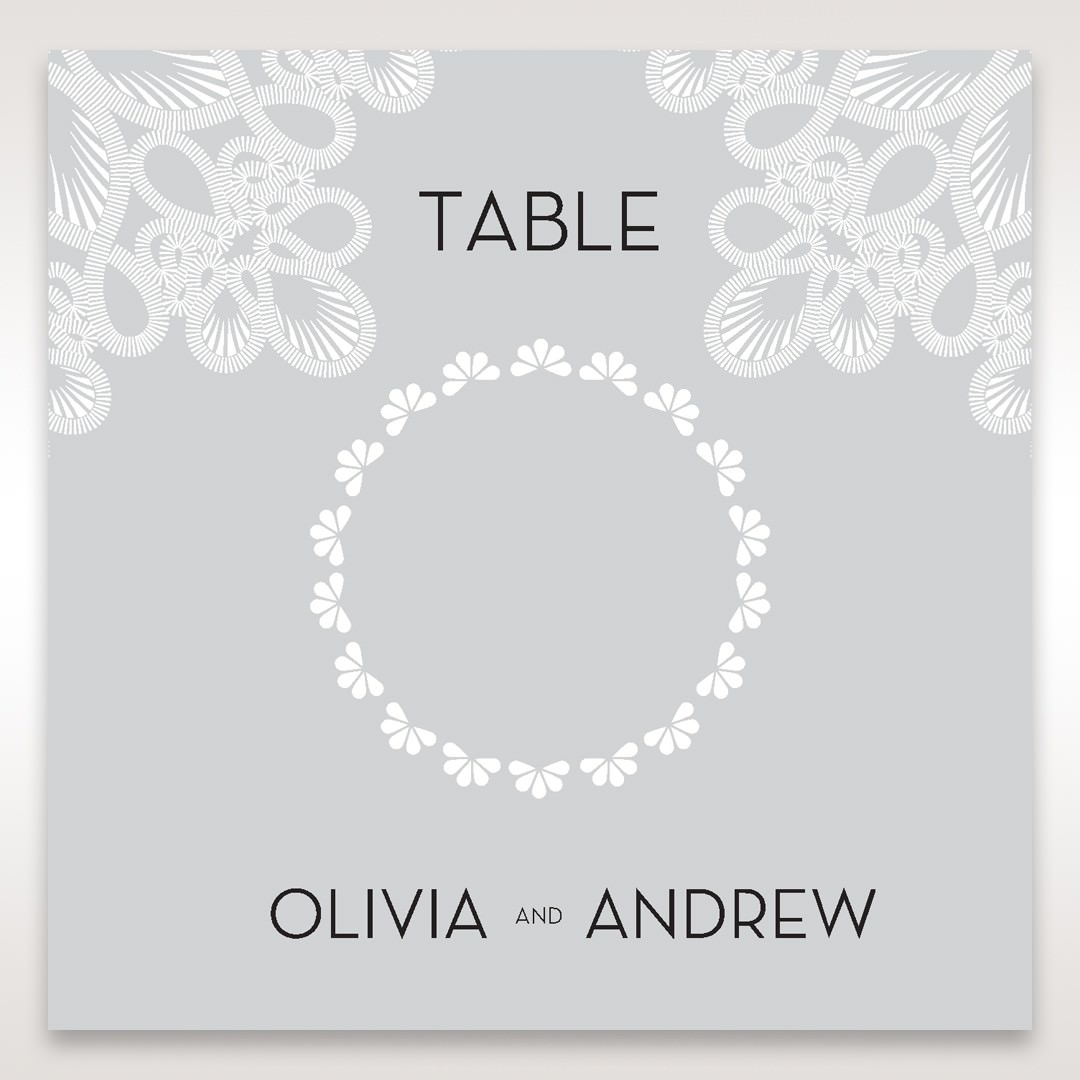 Silver/Gray Elagant Laser Cut Wrap - Table Number Cards - Wedding Stationery - 68