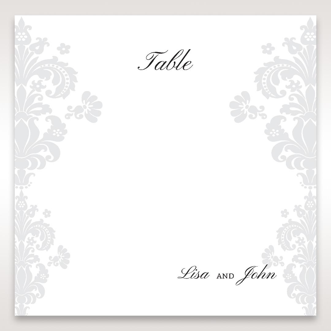 White Letter-fold Damask Pocket - Table Number Cards - Wedding Stationery - 54