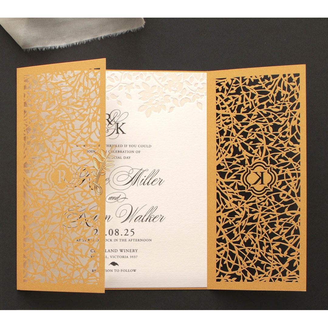 Golden Botanical gates - Wedding Invitations - PWI116022-DG-C-7618 - 183897