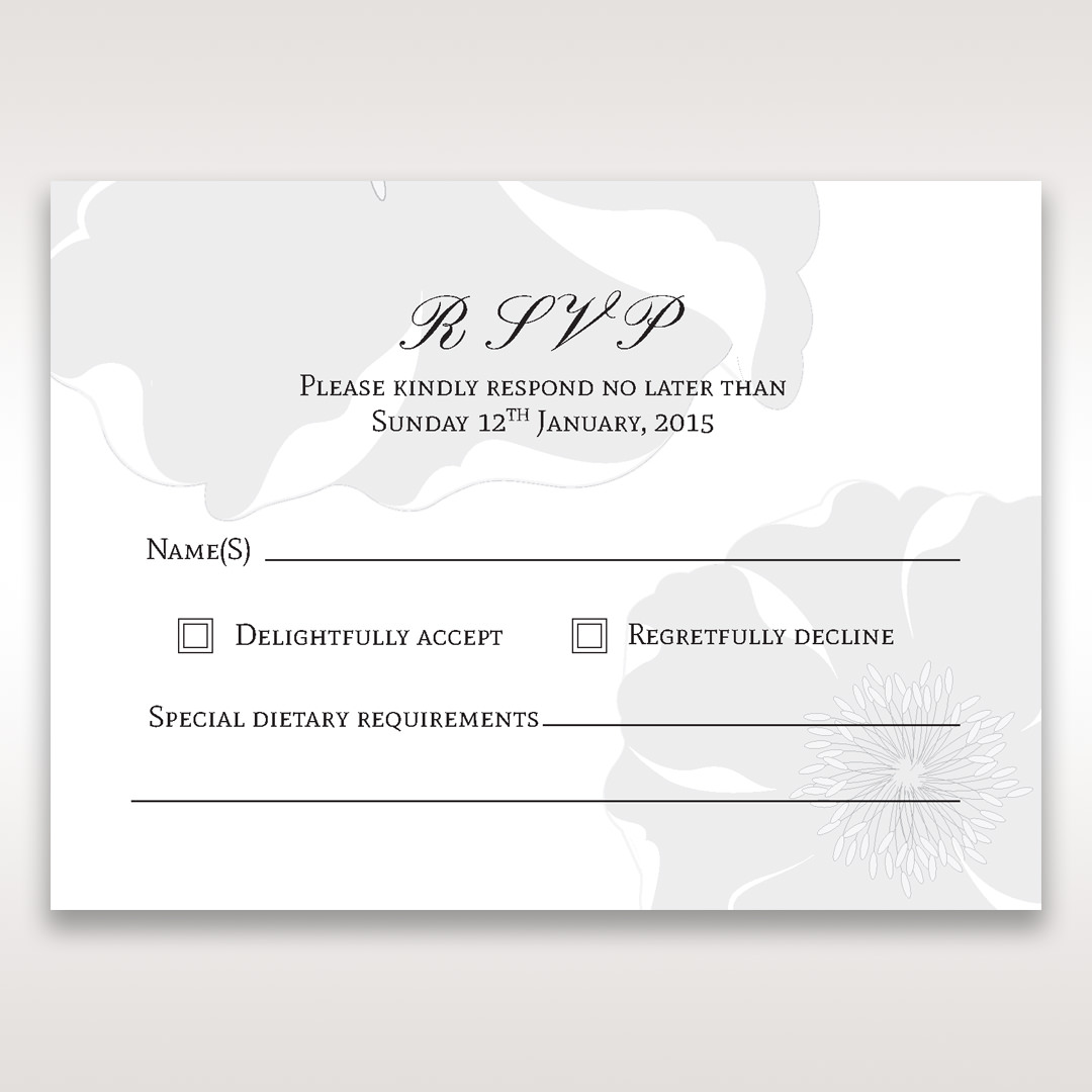 Silver/Gray Twinkling Rose - RSVP Cards - Wedding Stationery - 69