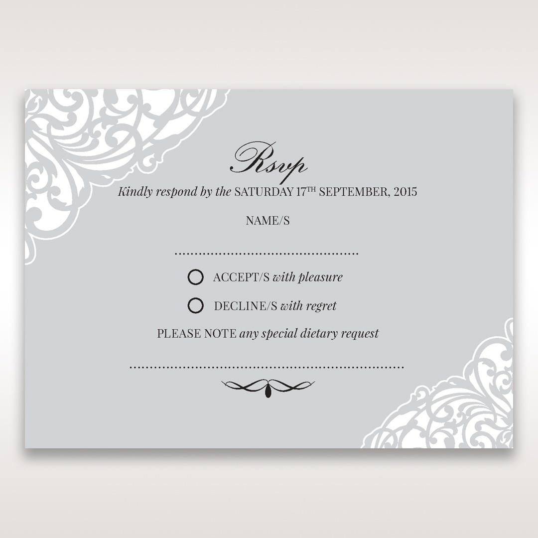 Silver/Gray Jeweled Romance Laser Cut - RSVP Cards - Wedding Stationery - 15