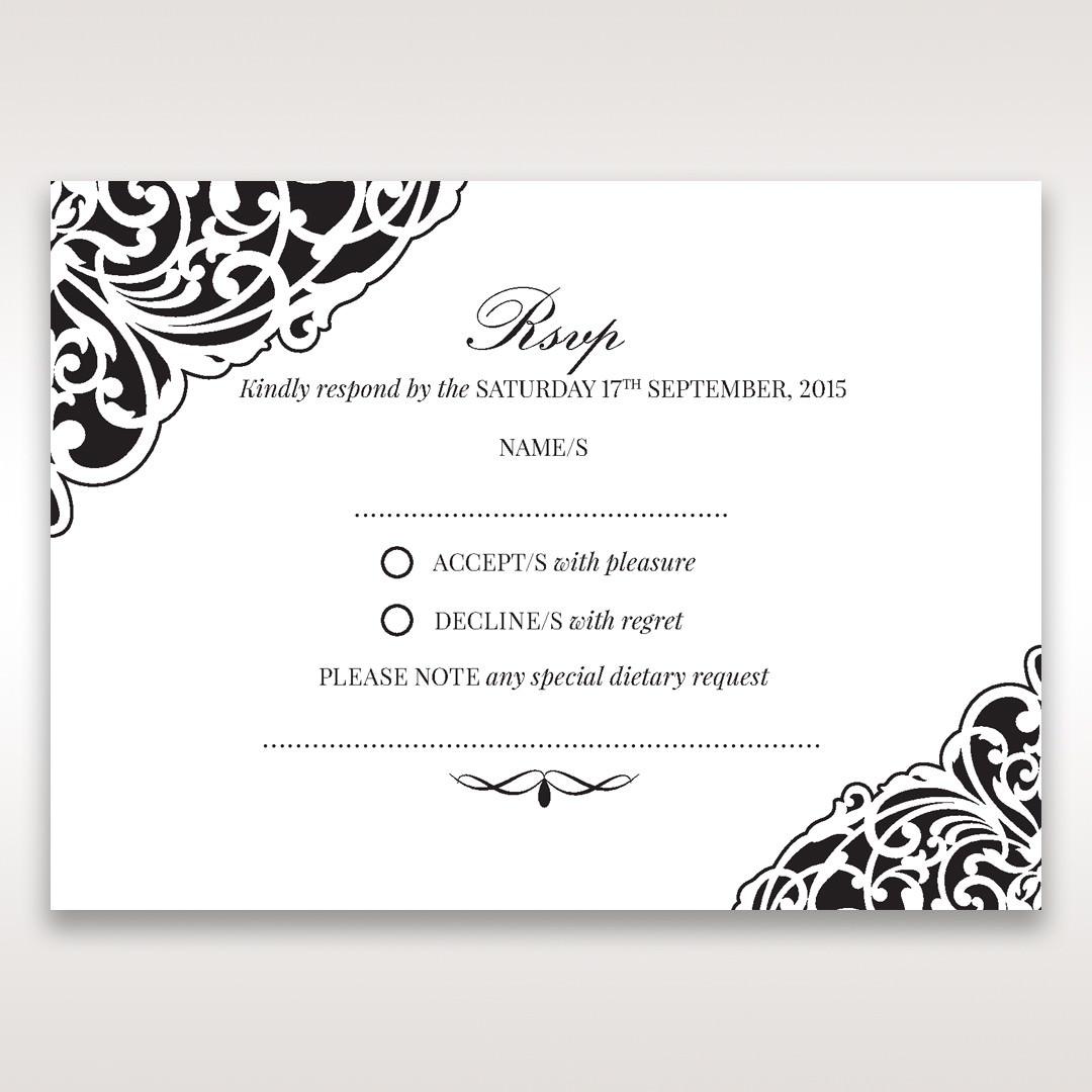 White Jeweled Romance Black Laser Cut - RSVP Cards - Wedding Stationery - 21
