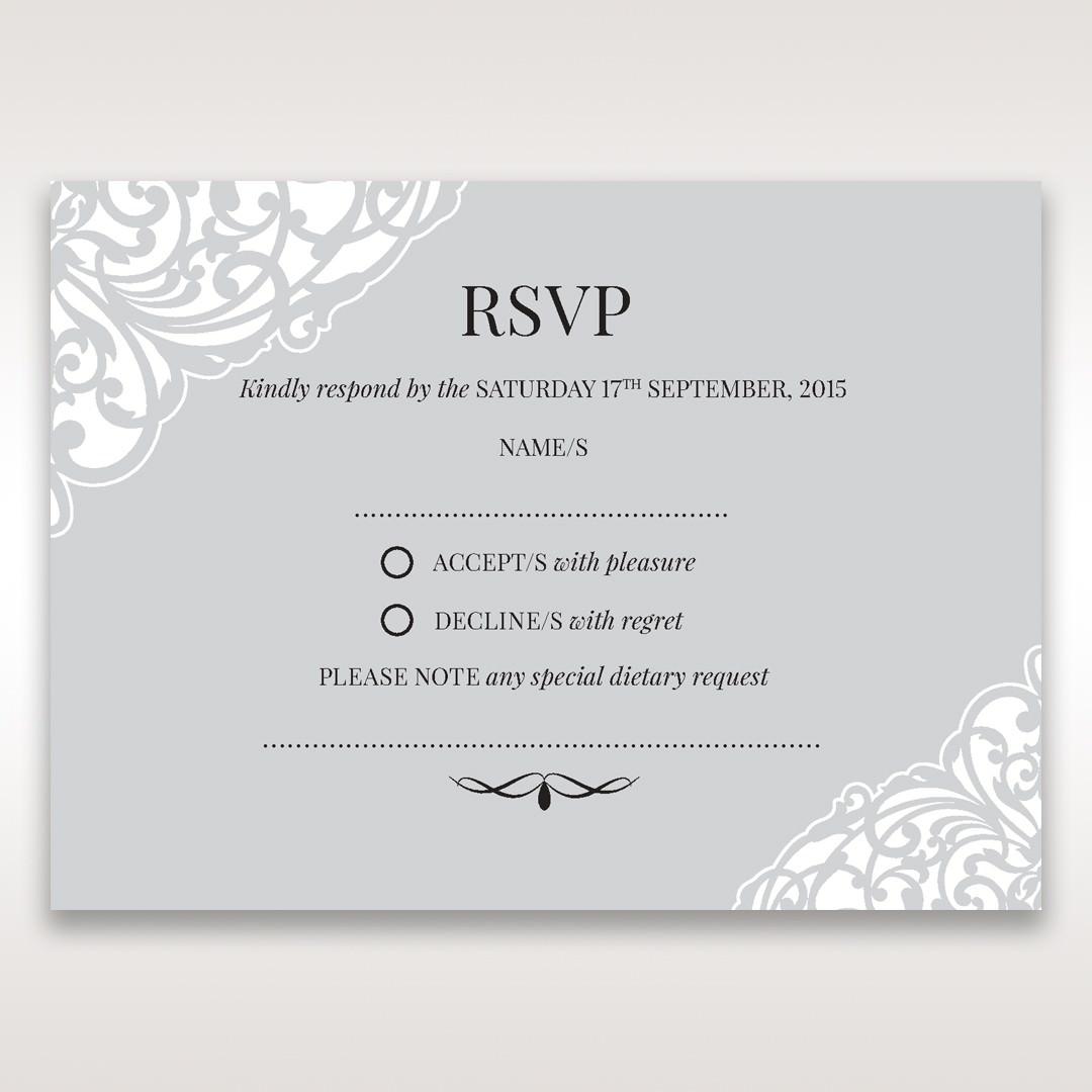 Silver/Gray Jeweled White Lasercut Pocket - RSVP Cards - Wedding Stationery - 24