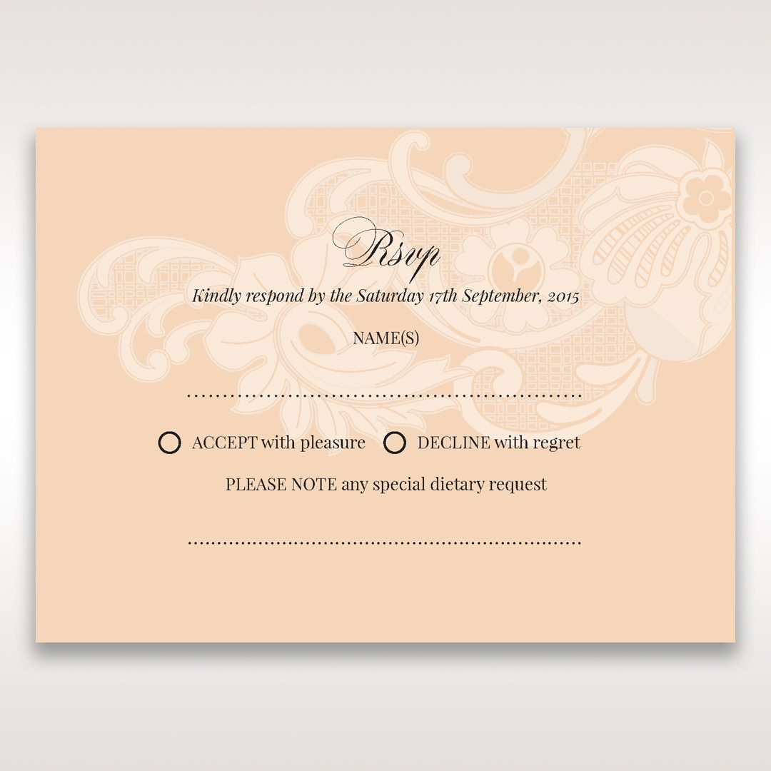 Beige White Laser Cut Wrap with Ribbon - RSVP Cards - Wedding Stationery - 53
