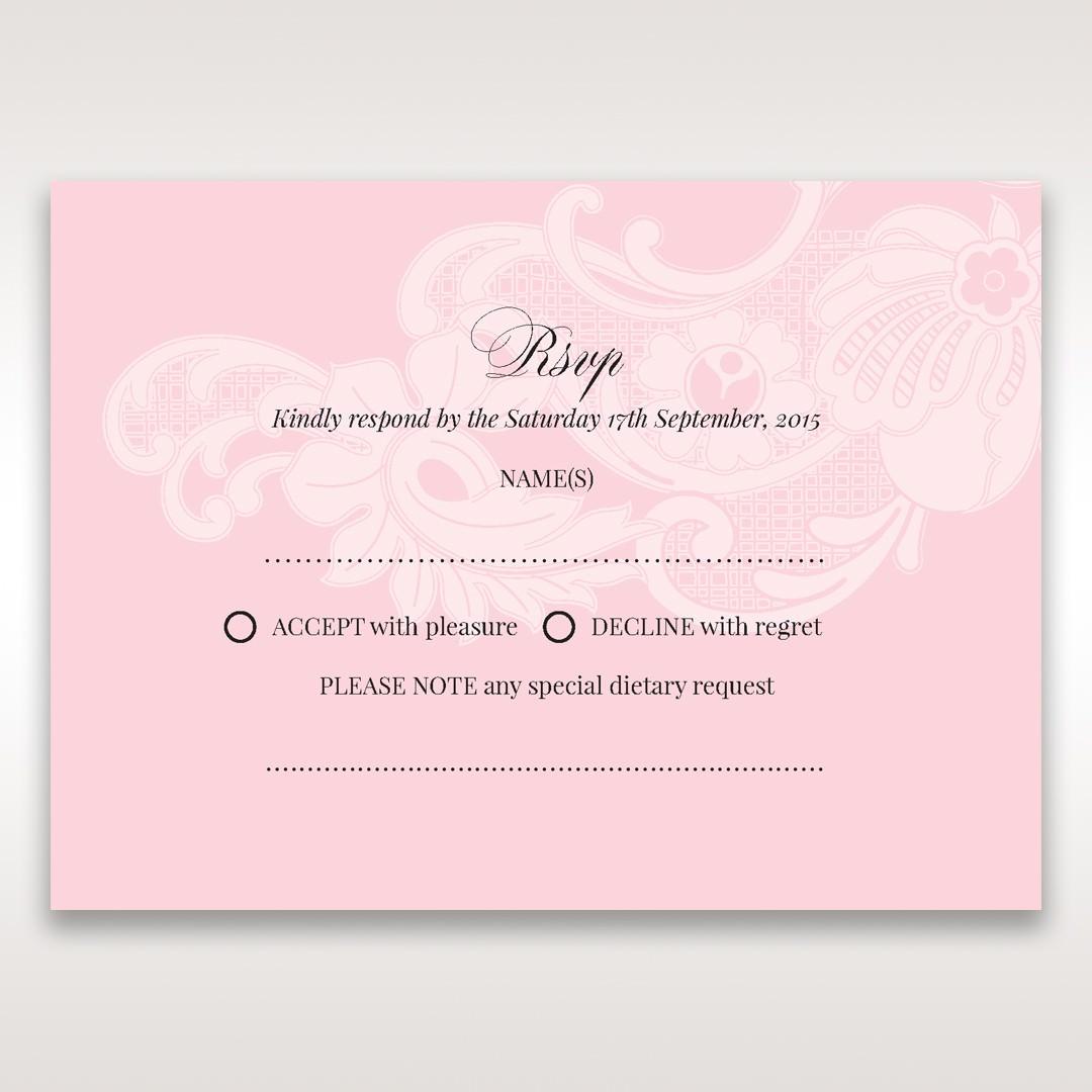Pink Laser Cut Floral Half Pocket - RSVP Cards - Wedding Stationery - 61