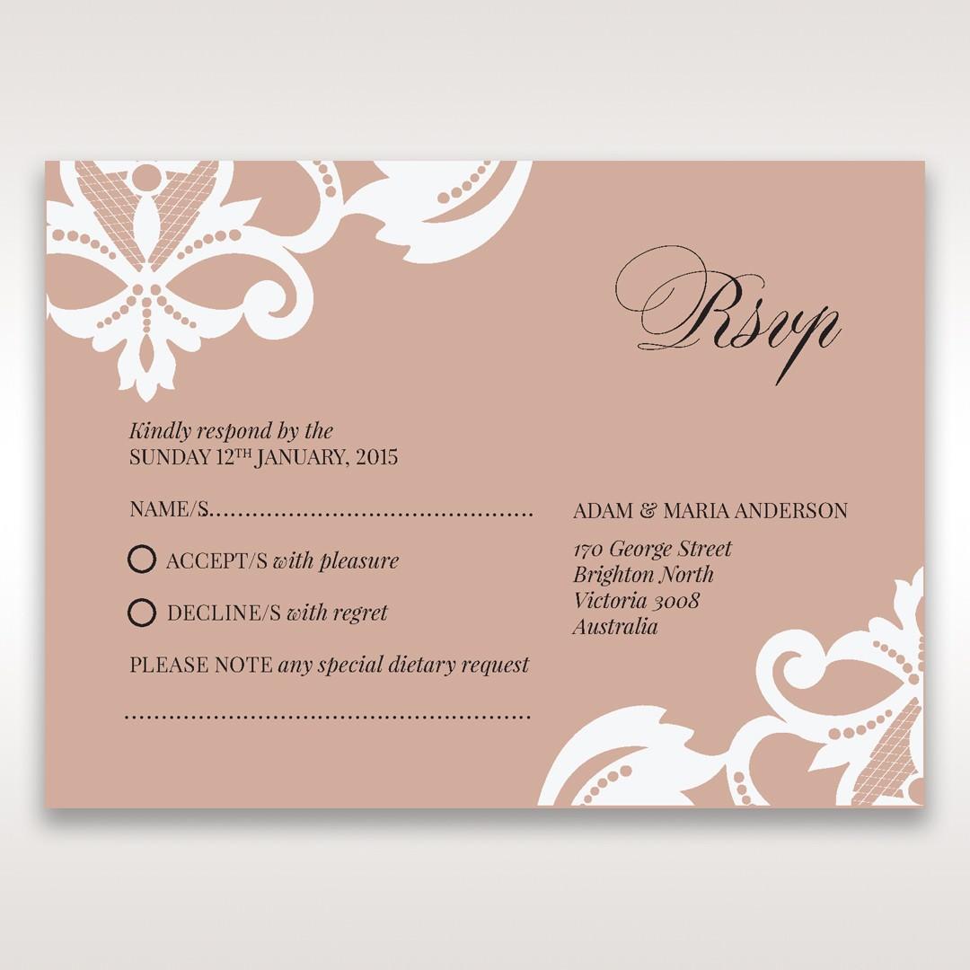 White Elegant Laser Cut Half Pocket with a Bow - RSVP Cards - Wedding Stationery - 71