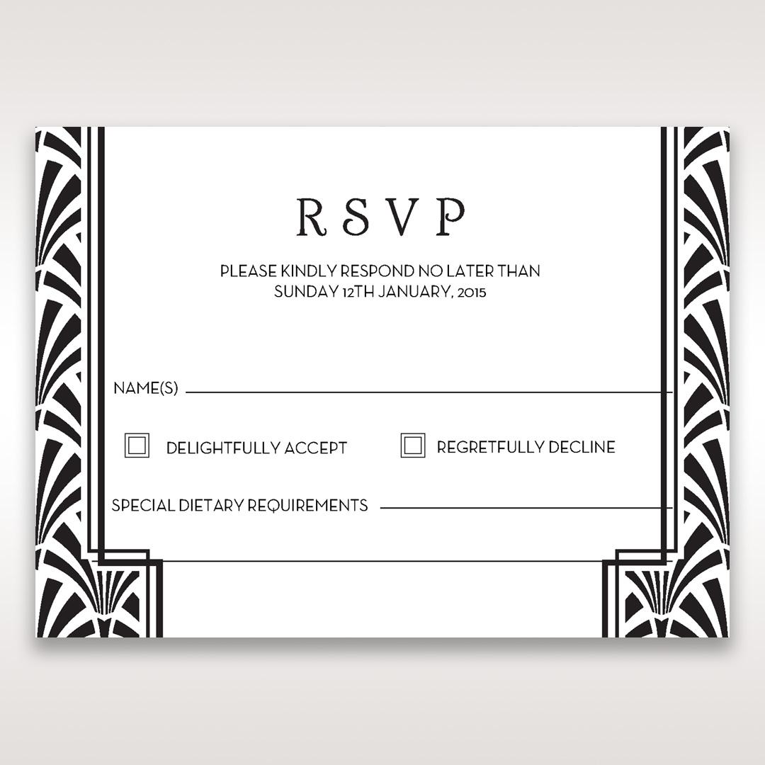 glitzy gatsby foil stamped patterns rsvp wedding enclosure