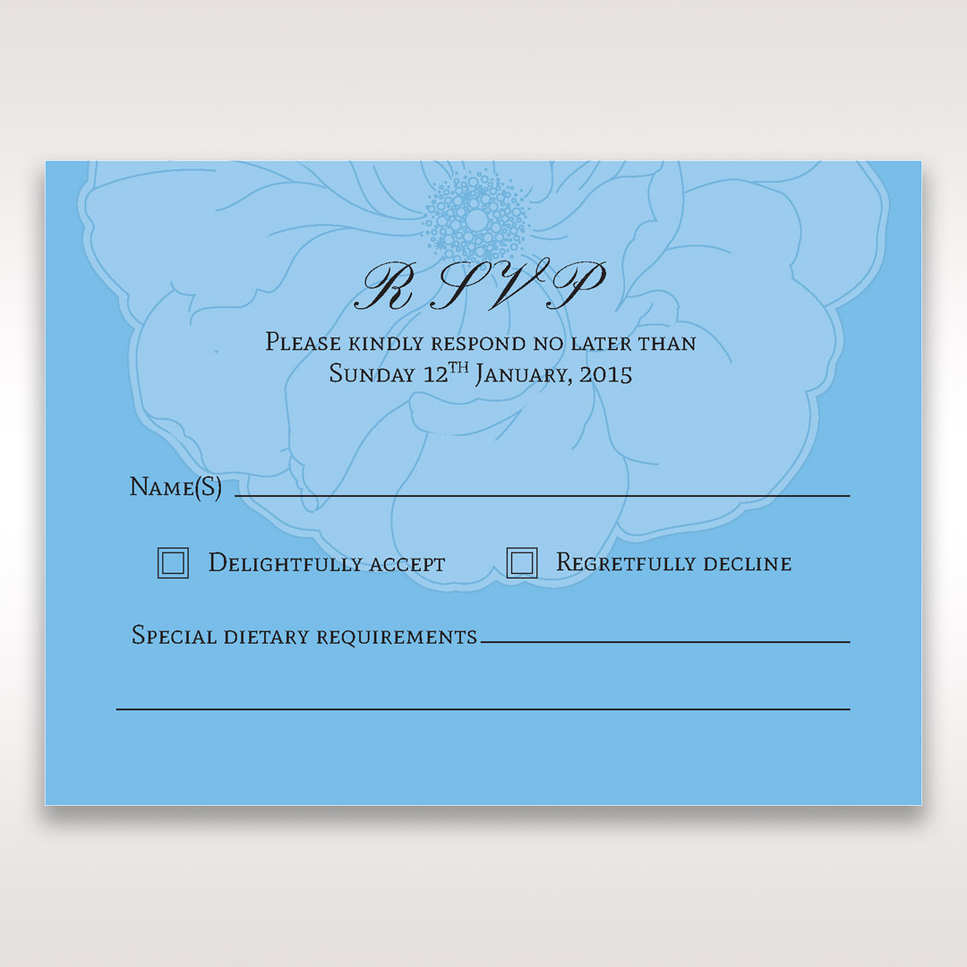 Blue Urban Flower Handcrafted - RSVP Cards - Wedding Stationery - 6