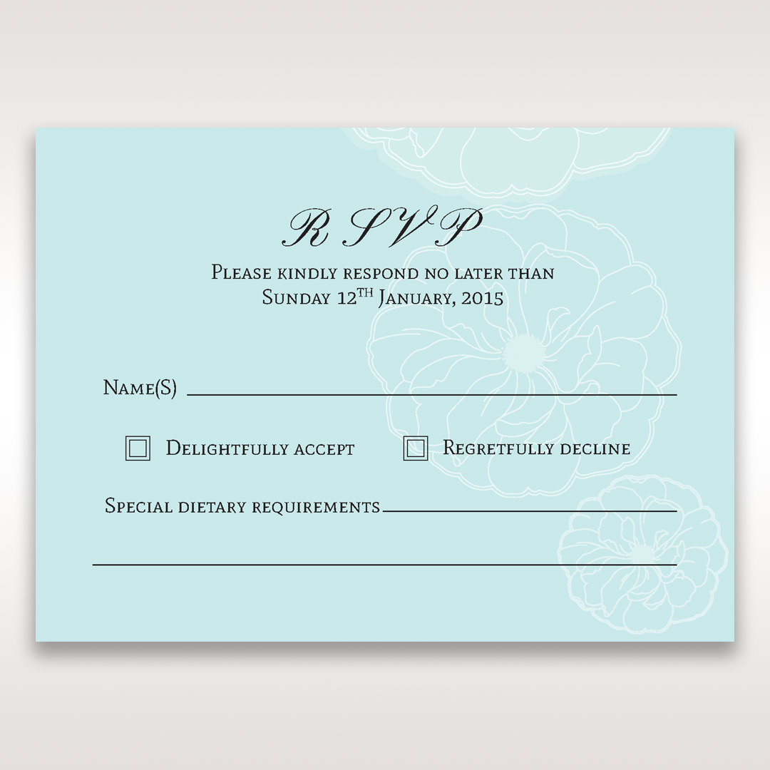 Blue Sculpted White Flower - RSVP Cards - Wedding Stationery - 40