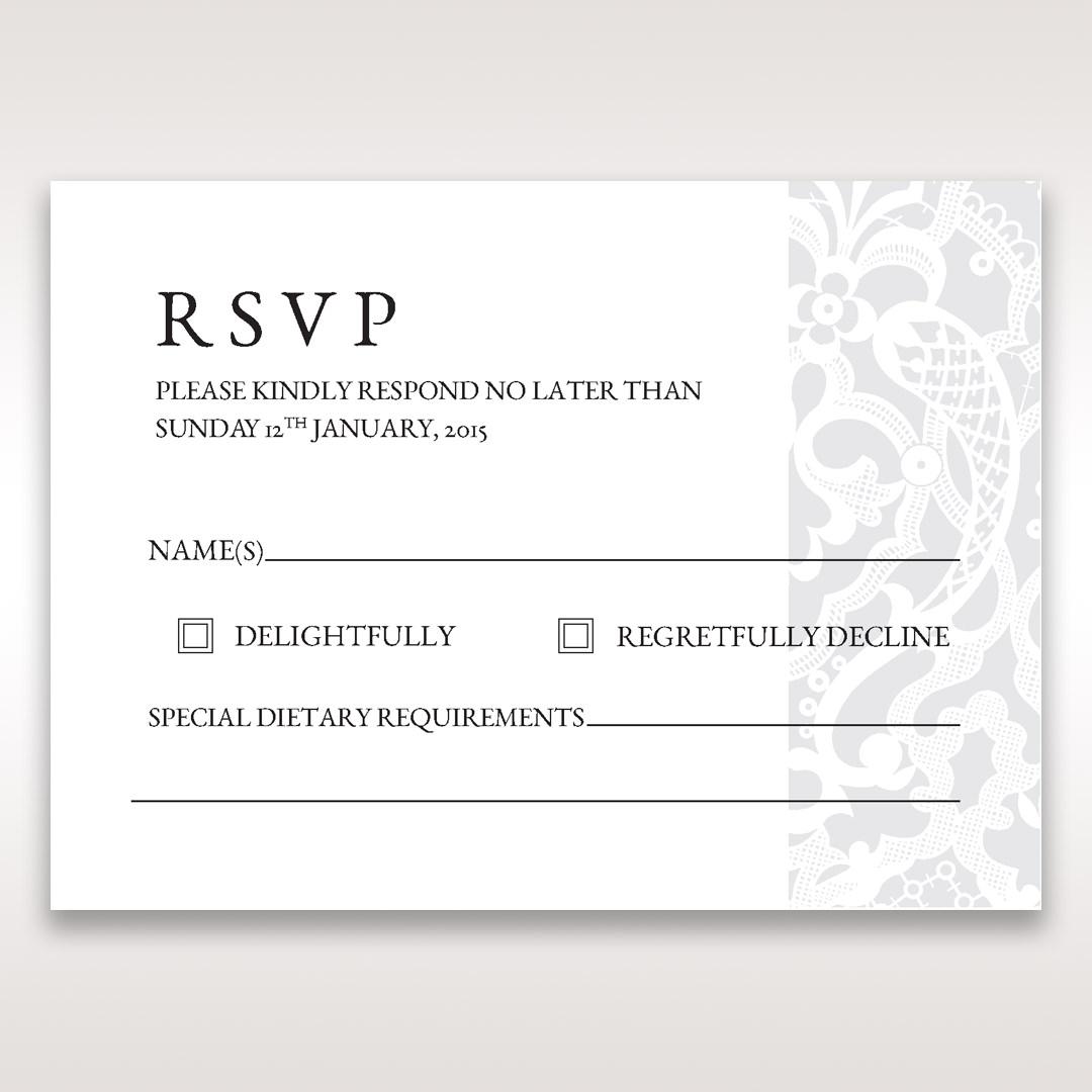 White Elegant Laser Cut - RSVP Cards - Wedding Stationery - 65