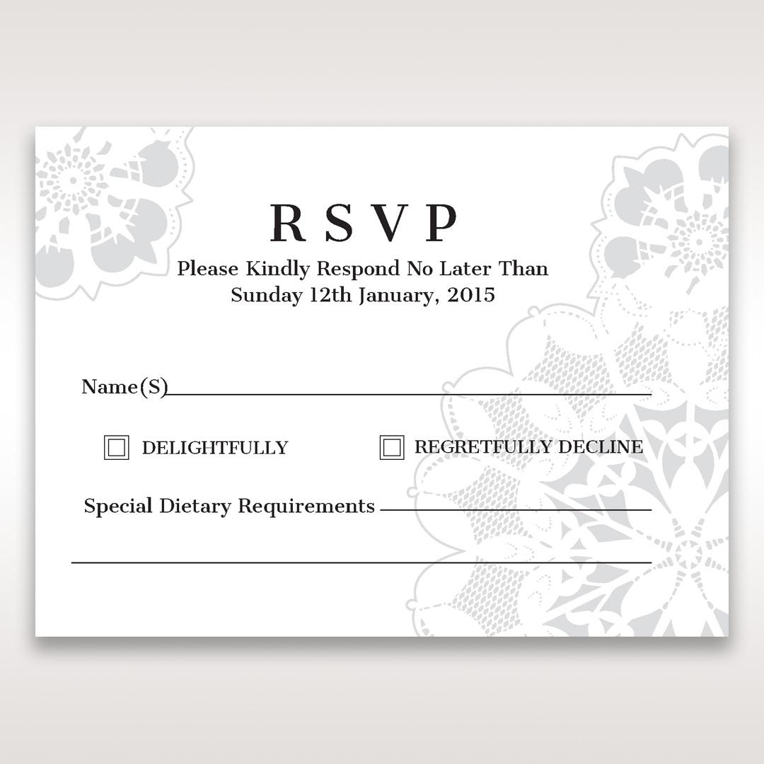 White Laser Cut Floral Frame - RSVP Cards - Wedding Stationery - 6