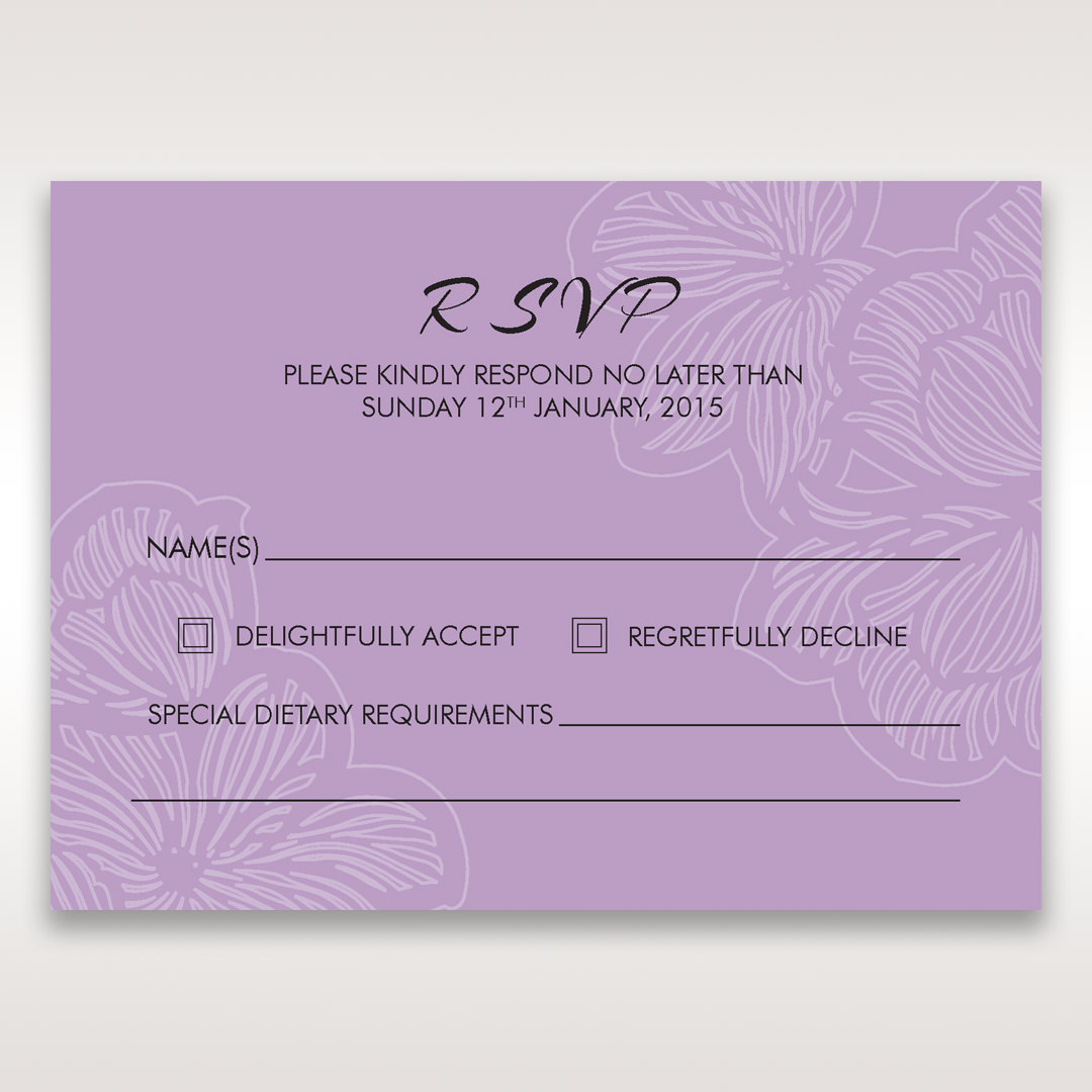 Purple Laser Cut Flower Frame III - RSVP Cards - Wedding Stationery - 33